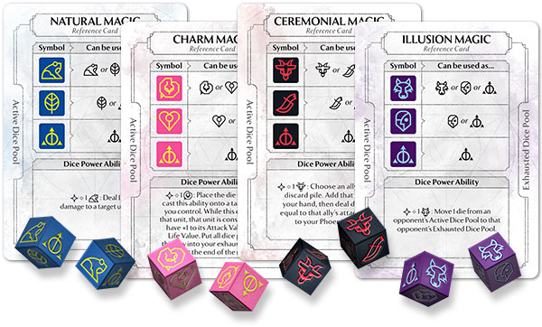 Dice and dice reference cards