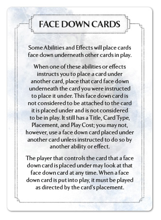 Face Down Cards Reference